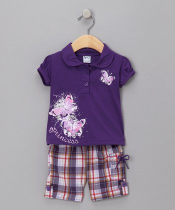 Purple Butterfly Polo & Plaid Capri Pants