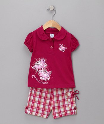Raspberry Butterfly Polo & Plaid Capri Pants