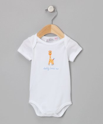 Sweet Cottons White & Blue 'Daddy Loves Me' Bodysuit - Infant