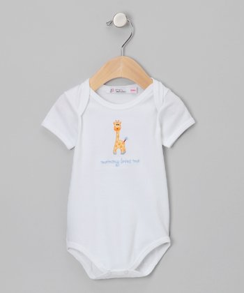 Sweet Cottons White & Blue 'Mommy Loves Me' Bodysuit - Infant