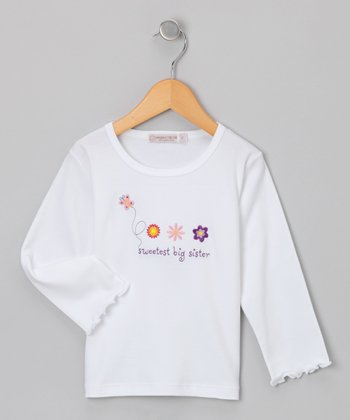 Sweet Cottons White 'Sweetest Big Sister' Tee - Toddler
