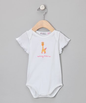 Sweet Cottons White & Pink 'Mommy Loves Me' Bodysuit - Infant