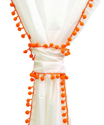 Orange Trim Voile Pom-Pom Panel