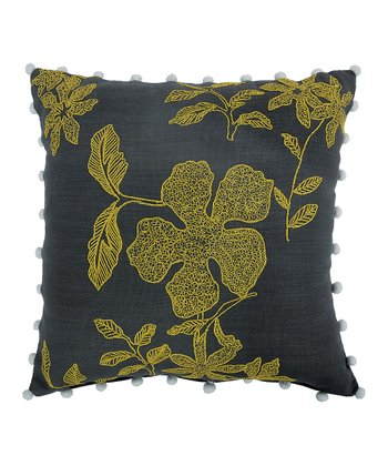Embroidered Floral & Pom-Pom Cushion