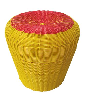 Yellow & Red Cable-Woven Stool
