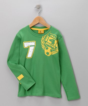Green 'Crazy 4 Soccer' Tee - Boys