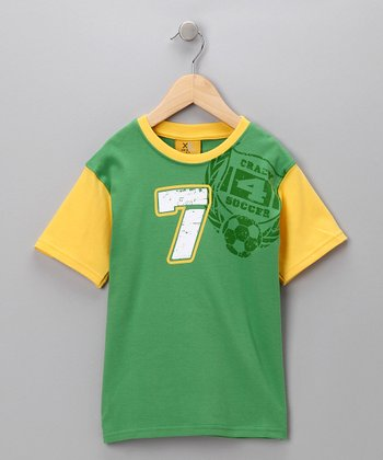 Green & Yellow 'Crazy 4 Soccer' Tee - Boys