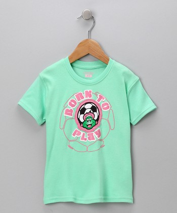 Mint 'Born to Play' Tee - Toddler & Girls