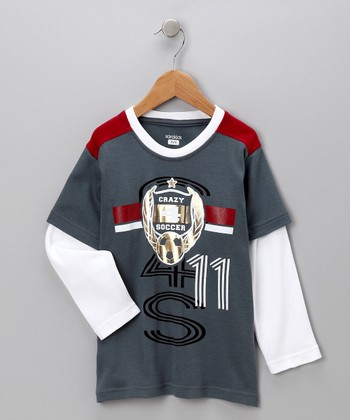 Charcoal 'Crazy 4 Soccer' Layered Tee - Toddler & Boys
