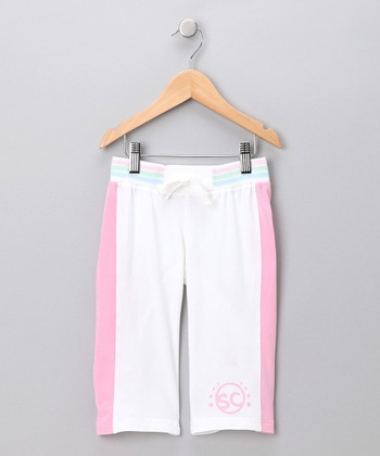White 'SC' Capri Pants - Toddler & Girls