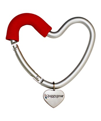 Red & Silver Heart Stroller Hook