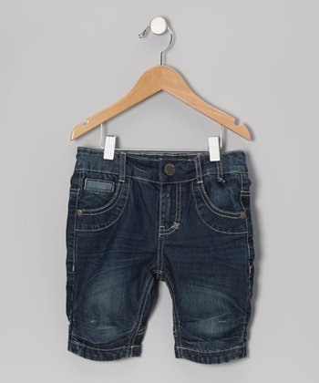 Medium Wash Skateboard Shorts - Girls