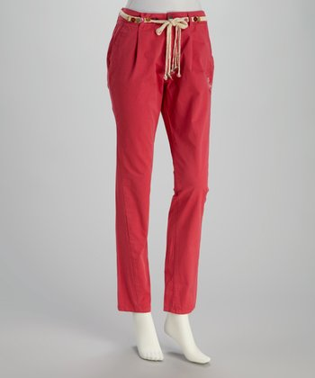 Red Skinny Pants & Belt