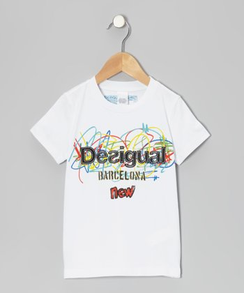 White Rainbow Scribble Tee - Girls