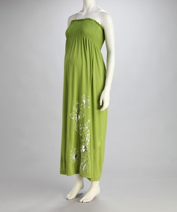 Bright Green Hibiscus Maternity Maxi Dress - Women
