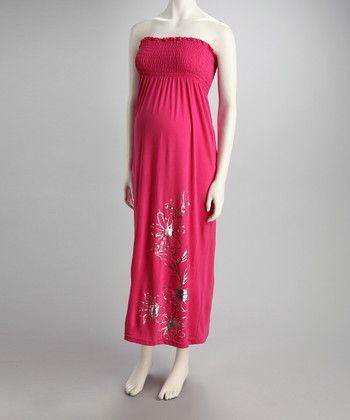 Hot Pink Hibiscus Maternity Maxi Dress - Women