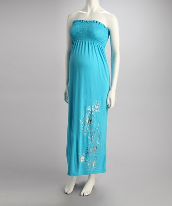 Turquoise Hibiscus Maternity Maxi Dress - Women