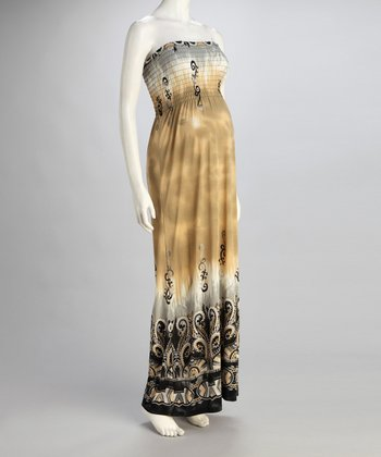 Mocha Tie-Dye Maternity Maxi Dress