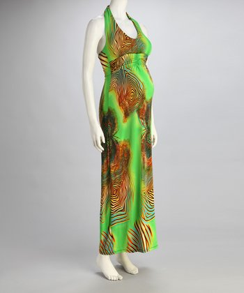 Green Psychedelic Maternity Halter Maxi Dress