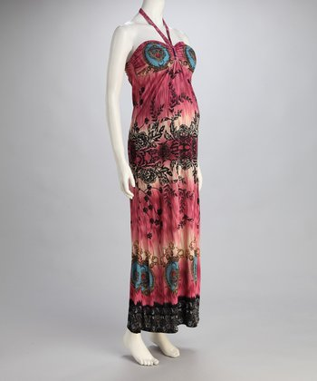 Fuchsia Floral Maternity Halter Maxi Dress