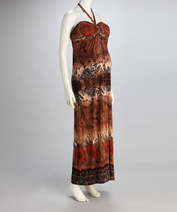 Rust Floral Maternity Halter Maxi Dress