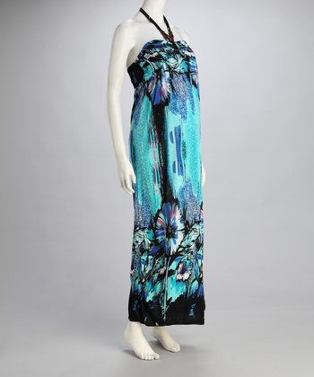 Blue Tropical Maternity Halter Maxi Dress
