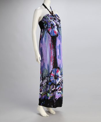Purple Tropical Maternity Halter Maxi Dress