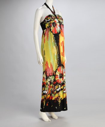 Yellow Tropical Maternity Halter Maxi Dress