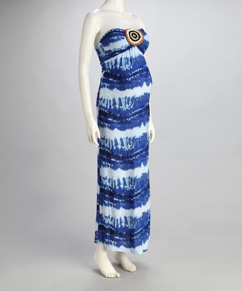 Blue Stripe Maternity Strapless Maxi Dress