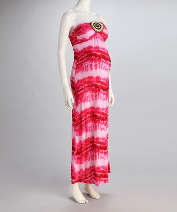 Fuchsia Stripe Maternity Strapless Maxi Dress