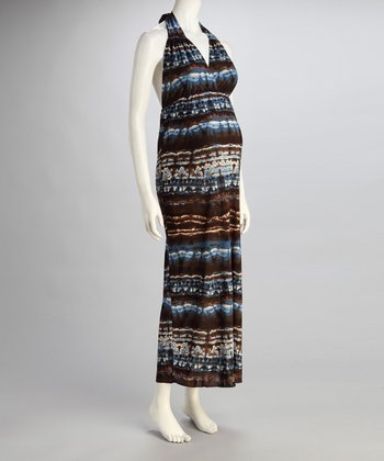 Blue Stripe Maternity Halter Maxi Dress