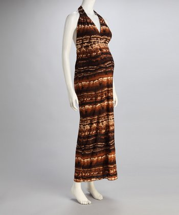 Brown Stripe Maternity Halter Maxi Dress
