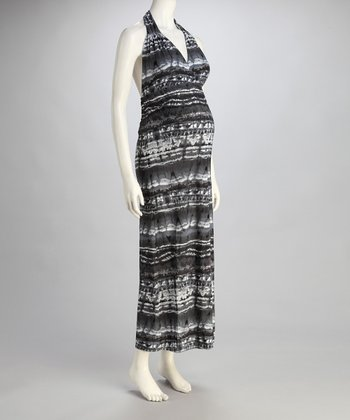 Gray Stripe Maternity Halter Maxi Dress