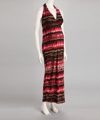 Red Stripe Maternity Halter Maxi Dress