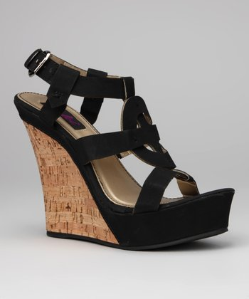 Black Celia Wedge Sandal