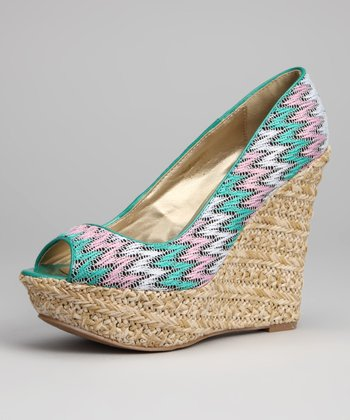 Teal Trina Peep-Toe Wedge