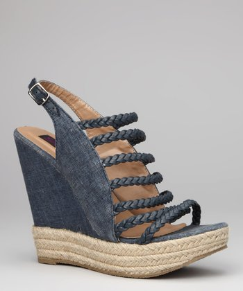 Blue Molly Wedge Sandal