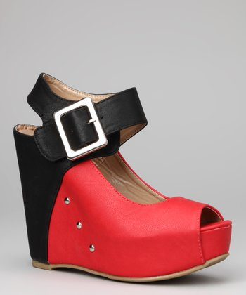 Red Celeste Wedge Sandal