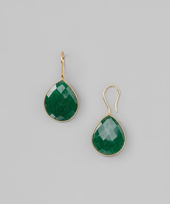 Green Onyx & Sterling Silver Drop Earrings