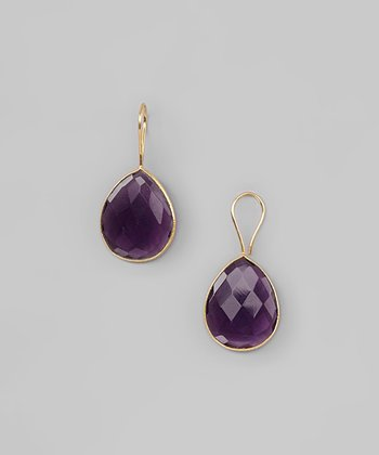 Amethyst & Gold Drop Earrings