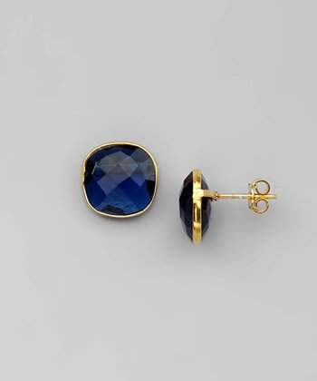 Blue & Gold Square Earrings