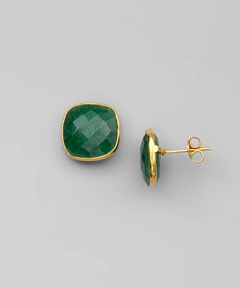 Emerald & Gold Square Earrings