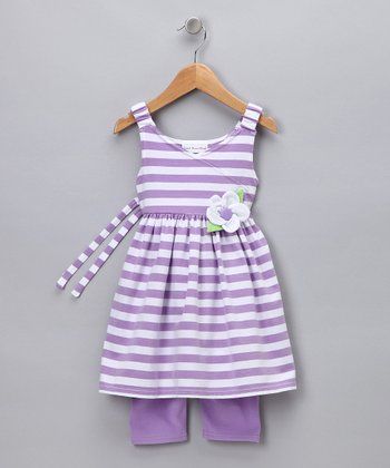 Purple Stripe Tunic & Leggings - Toddler & Girls