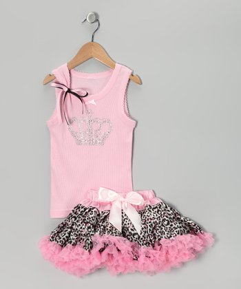 Pink Crown Tank & Leopard Pettiskirt - Infant, Toddler & Girls