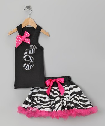 Black Zebra '5' Tank & Pettiskirt - Girls