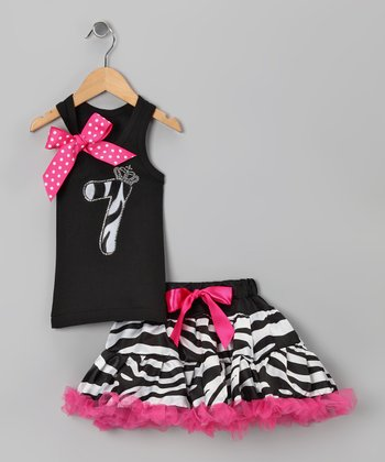 Black Zebra '7' Tank & Pettiskirt - Girls