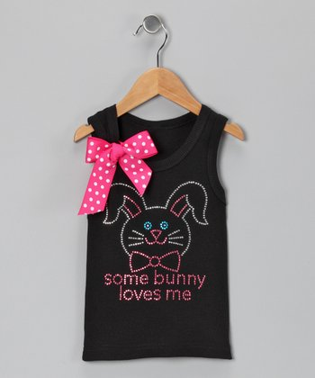 Black 'Some Bunny' Tank - Infant, Toddler & Girls