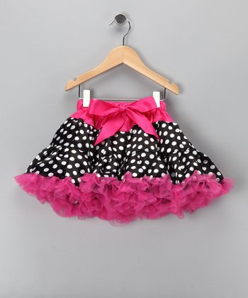 Hot Pink & Black Polka Dot Pettiskirt - Infant, Toddler & Girls