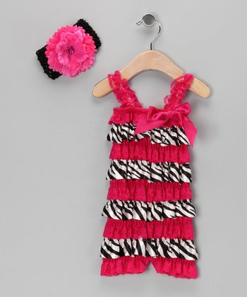 Hot Pink Zebra Ruffle Romper & Flower Headband - Infant & Toddler