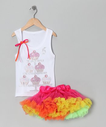 White '6' Cupcake Tank & Pink Pettiskirt - Girls